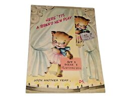 Anthropomorphic Ballerina Cat Fold Out Birthday Card Die Cut Wishing Well By
