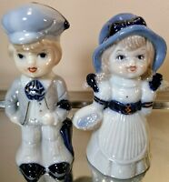 Vintage Porcelain Little Boy and Little Girl Figurines Blue and White