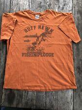 Ruff Hewn Fishing Lodge Orange XL Large Men's T-Shirt Bass Fish Casual Wear