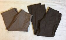 Cato Dress Pants Capris Women Size 12, 34 Waist Brown Plaid Cropped Lot Of 2