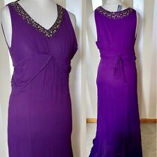 Marks And Spencers Purple Ball Gown Prom Wedding Size 10 Embellished V Neck Long
