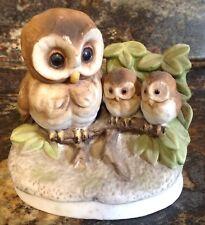 Homco Owl Family Figurine #1298 Mother & 2 Babies Birds