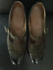 Hotter Womens Patent And Suede T-bar Brown Heeled Shoes Size 7.5