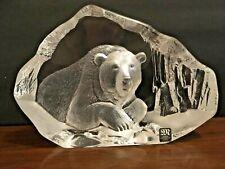Mats Jonasson Polar Bear 3551 Glass Crystal Sculpture Signed IOB Sweden
