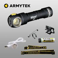 LED Stirnlampe Armytek Wizard v3 XP-L Magnet USB aufladbare Taschenlampe + Akku