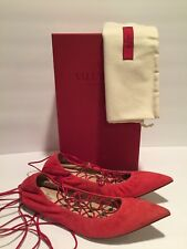 Valentino Ballerina Lace Up Rockstud Ballets Flats Suede Red 39.5/9 $895