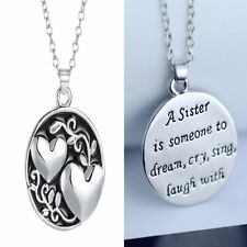 Crystal Sister Charm Pendant Reversible Chain Necklace Love Family Jewelry Gift
