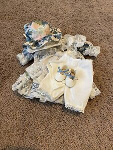 "VTG Doll Blue Floral Dress Clothes Pinafore Bonnet Socks Shoes 14"" Dolls"