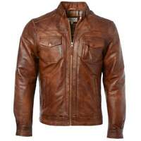 Ashwood 1895 Mens Soft Slim Fit Leather Vintage Biker Jacket Tan: Edinburgh