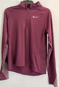 Nike Men's Running Dri-Fit Medium Maroon Purple Quarter Zip Shirt Pullover