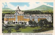 HOTEL ROANOKE VA ~MODERN AIR CONDITIONED~OLD ENLISH INN~PRE LINEN POSTCARD