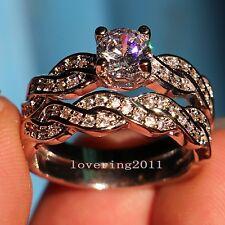 Women Engagement Diamonique CZ White Gold Filled Wedding Band Ring Set Size 5-11