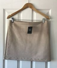 NEXT NUDE LIGHT BROWN FAUX SUEDE STUD SKIRT UK 12 NEW
