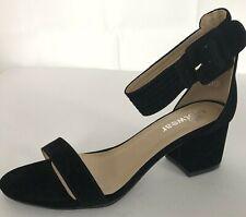Koi Footwear Kove Sandal UK 5 Low Block Heel Wide Strap Black Suede Like NEW