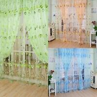 Floral Tulle Voile Door Window Curtain Scarf Sheer Drape Panel Valances Divider