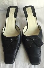 Gucci Womens Shoes Black Leather Upper Slip-On Mules Us Size 8.5 M