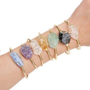 Natural Stone Bangle Wire Wrap Irregular Crystal Quartz Cuff Bracelets Jewelry