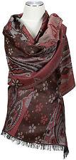 Schal Bordeaux Braun UNISEX Wolle wool scarf stole écharpe foulard Brown Floral