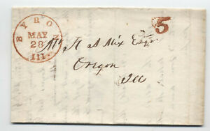 1850 Byron IL red CDS stampless 5 rate to Oregon IL [5806.171]