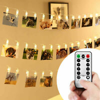Photo Clip String Lights Bedroom Led Fairy Light Hanging Picture Card & Remote