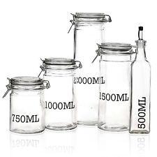 Air Tight Sealed Large Glass Storage Jar With Metal Clamp Lid Tall Kitchen Cruet