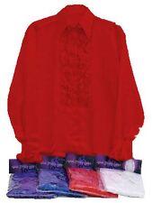 1970s RED SATIN SHIRT AND RUFFLES, DISCO, MENS FANCY DRESS COSTUME #US