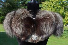 Vintage Genuine SILVER FOX FUR Cape Stole Wrap Caplet--FABULOUS!!