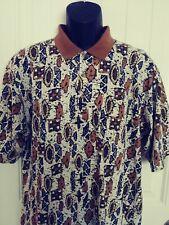 VTG Pierre Cardin Men's Short Sleeve Multicolor Aztec Tribal Print Polo Shirt L
