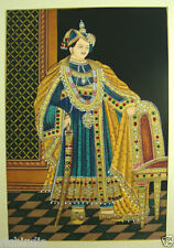Royal King India portrait painting india  Water Colour Handmade Art Palace Fort