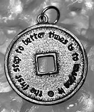 LOOK Good Luck Coin Fortune Wealth Token Charm Pendant Sterling Silver .925 Jewe