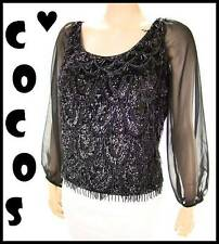 VTG 50s Heavy Sequin Bead Fringe Swag Chiffon LS Wool Cocktail Party Blouse M/L