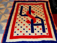 "Beautiful Afgan Crochet Blanket Throw  40"" X 55"" Stars & Stripes USA"