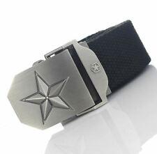 Cinturón Para Hombre Lona De Calidad-Negro-Star Detalle Hebilla - 5 tamaños-BE0012
