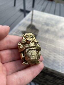 Rare Novelty Brass Monkey Vesta Case Match Safe Holder Striker