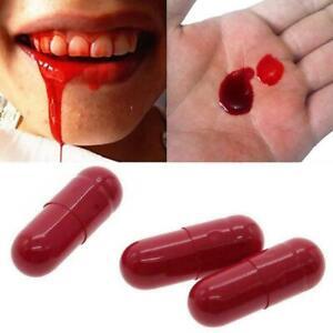 Halloween Fake Blood Capsules Trick Joke Horror Vampire Easter-Party Zombie C2G7