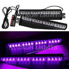 """34"""" 32 LED Purple Emergency Warning Strobe Visor Split Mount Deck Dash Light Bar"""