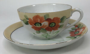 Vintage Meito China Teacup Saucer Poppies Orange Flowers Japan Hand Painted