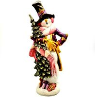"Vintage Ceramic Hand Painted Christmas Snowman in Pink and Purple Unique 14.5"" T"