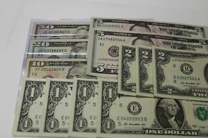 Full Set of $1 $2 $5 $10 $20 $50 Dollar Uncirculated  Banknote Real Money