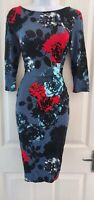 Womens Phase Eight Dress size 10 blue red flower ruched pencil casual smart work