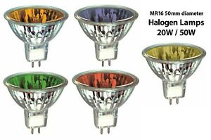 12V MR16 COLOURED LOW VOLTAGE - 20W, 35W, 50W, - YELLOW, AMBER, BLUE, RED, GREEN