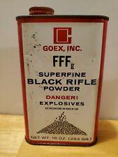 1985 Fffg Goex, Inc Superfine Black Rifle Powder Tin Can Muskets Pistols Shotgun