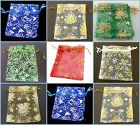 Christmas Organza Gift bags Printed 7x9cm 10x12cm 11x16cm Xmas favour Bags UK