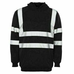 Hi Vis High Visibility Sweatshirt Hooded Jumper Fleece Work wear Hoodie
