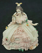 1949 Wessel Frankenthal Dresden Art Lace Colorful Figurine w/ Fan