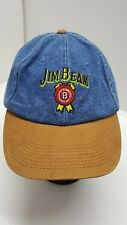 Jim Beam Blue Denim Strapback Baseball Hat Cap Leather Bill
