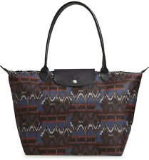 LONGCHAMP Ikat Large Blue Zipper Black Pattern Bag Shoulder Handbag Navy NEW