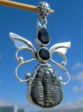 Trilobit aus Utah , USA. -  Anhänger Silber 925 mit Rauchquarz und Onyx !