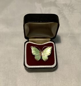 Marius Hammer Norway Sterling Silver Enamel Butterfly Brooch.