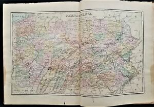 1891 antique GEOGRAPHY BOOK copper-plate MAPS owned WILLIS L BRIGHT bernville pa